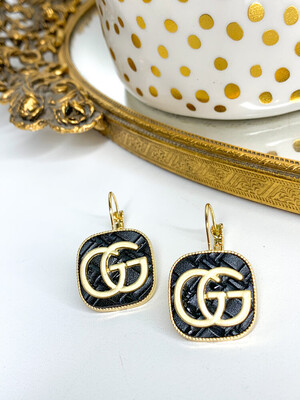SJ Designer Earring Dangles Black Square Gucci