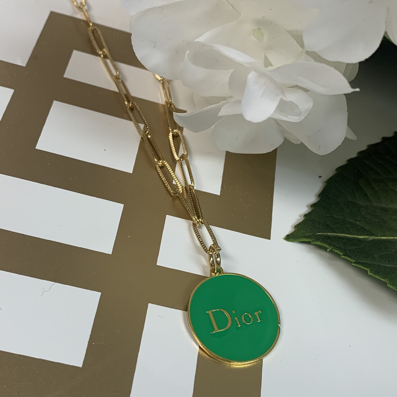 SJ Inspired Necklace Green Dior