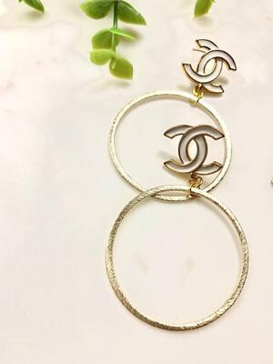 SJ Designer Earring Hoops White Logo CC
