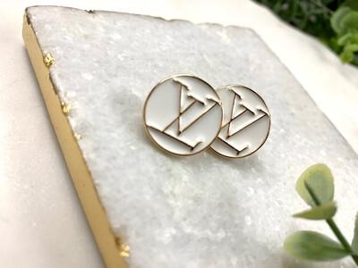 SJ Designer Earring Studs White Circle LV