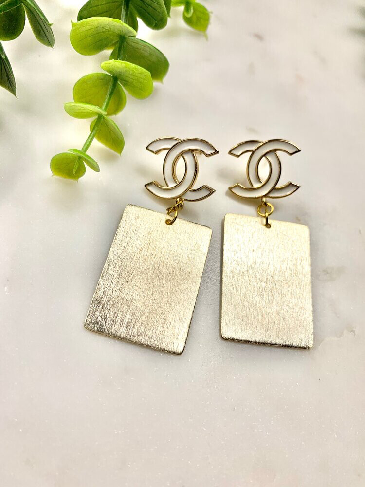 SJ Designer Earrings White Logo Bars CC