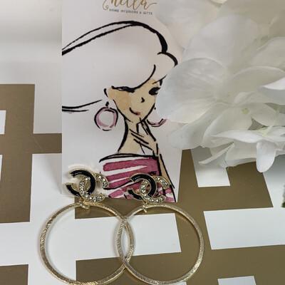 SJ Designer Earring Hoops Black/Diamond Logo CC