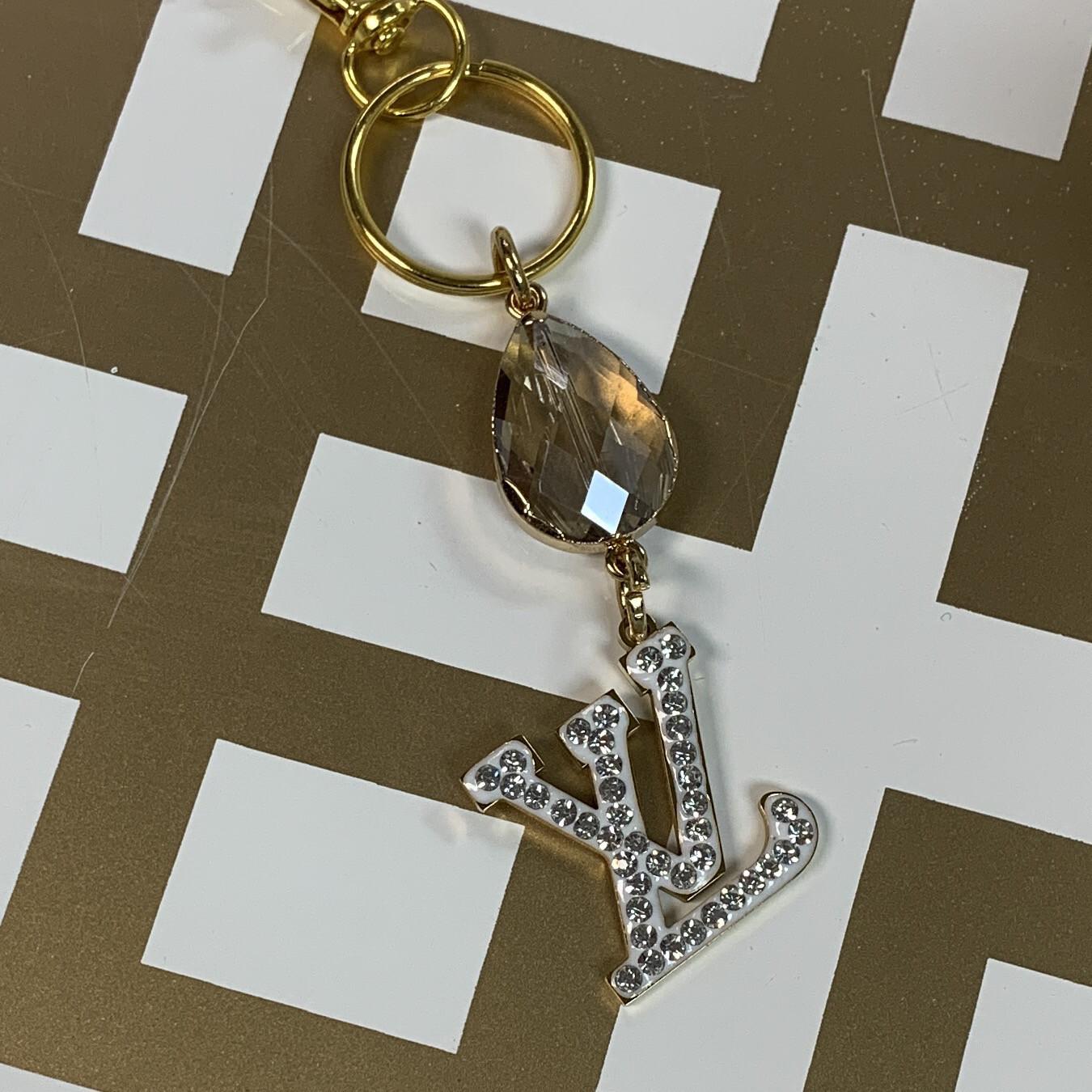 SJ Inspired Keychain White Diamond Logo LV