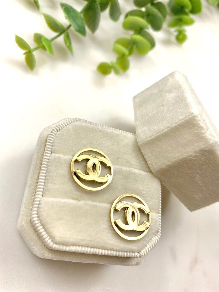 SJ Inspired Earring Studs Gold Circle CC