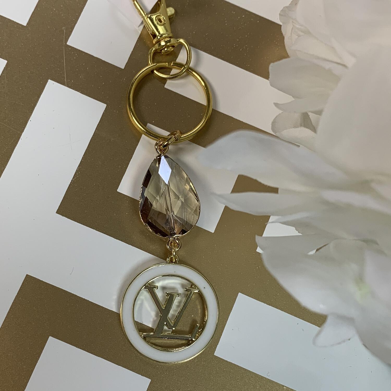 SJ Designer Keychain White Circle Logo LV