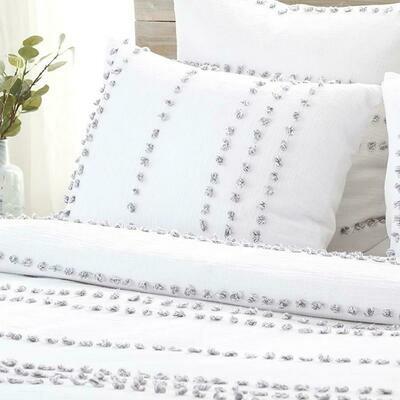 PomPom Blanket Set Poppy White Queen