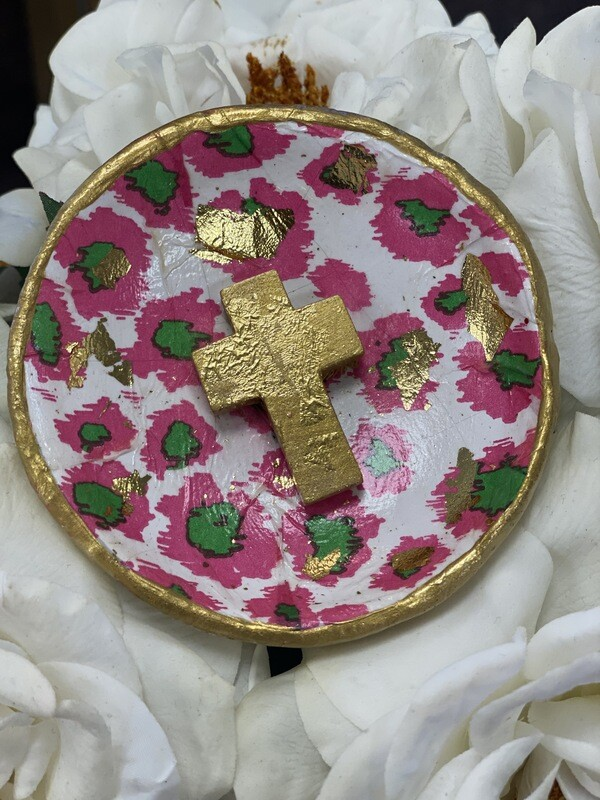 Trinket Dish Pink Aztec/Gold Cross