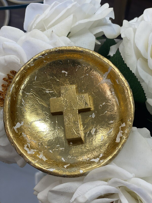 Trinket Dish Gold/Gold Cross