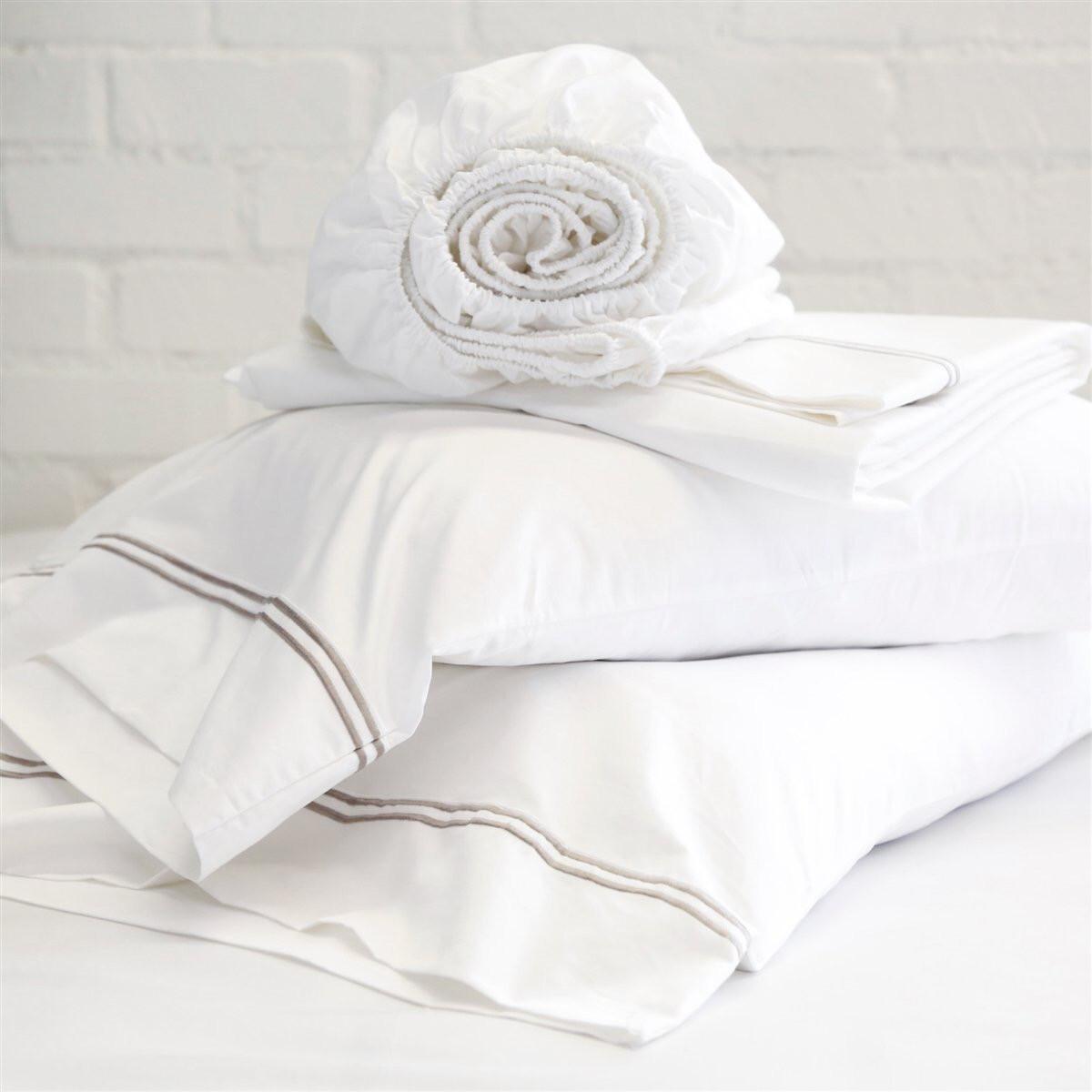 PomPom Cotton Sateen Pillowcase Set Grey Stripe King