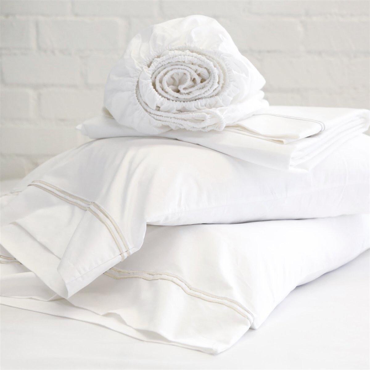 PomPom Cotton Sateen Pillowcase Set King Taupe Stripe