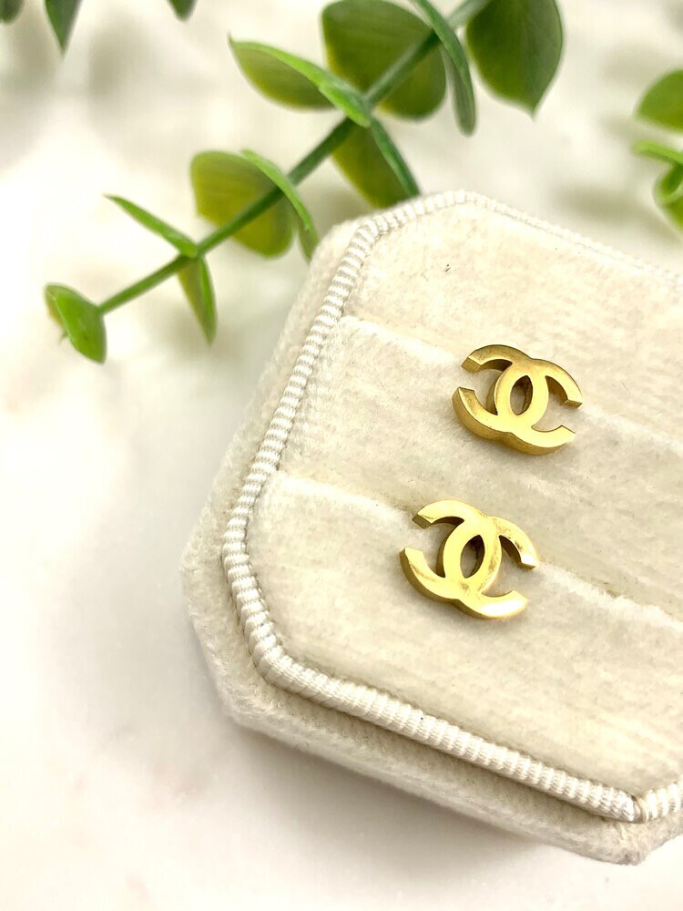 SJ Inspired Earring Studs Gold Mini CC