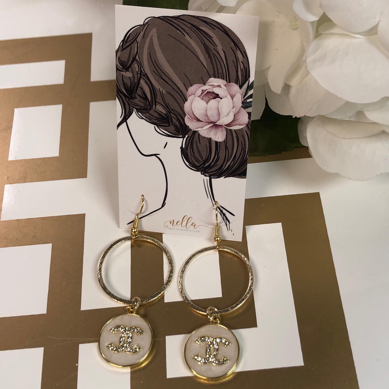 SJ Designer Earring Dangles Pearl CC