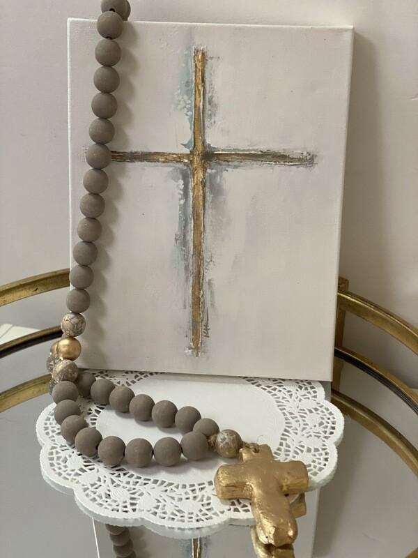 11x14 Cross Painting Gold/Turq
