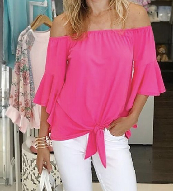 TY Off Shoulder Front Tie Top