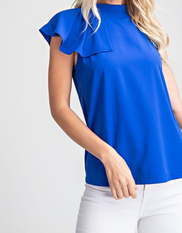 GA Ruffle Mock Neck Top