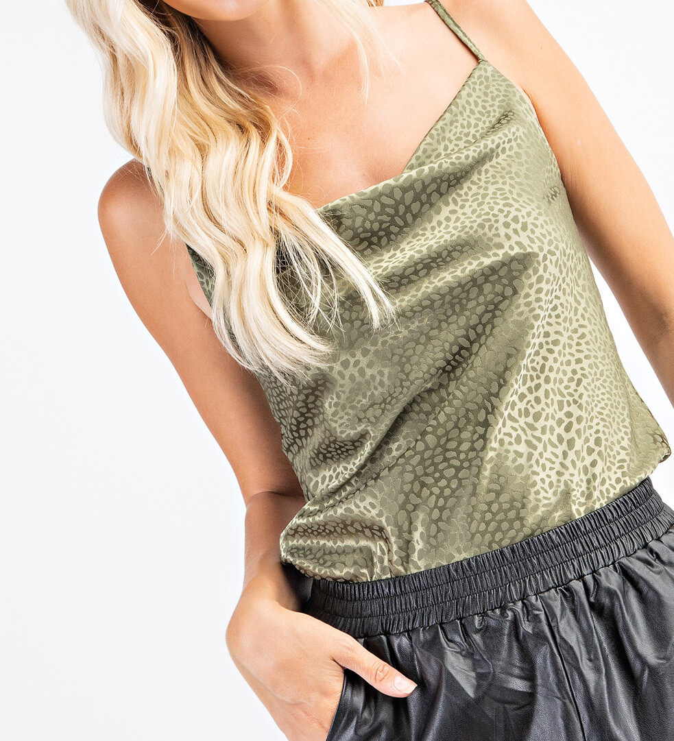GA Satin Cowl Neck Tank