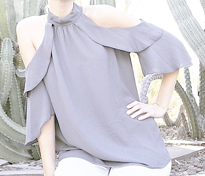 TY Ruffle Cold Shoulder Top