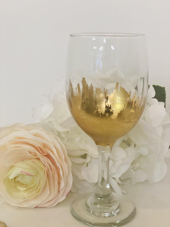 Gold Gild Stemmed Wine Glass 3