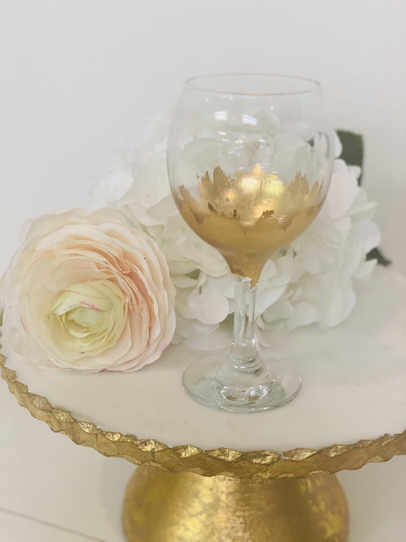 Gold Gild Stemmed Wine Glass 1
