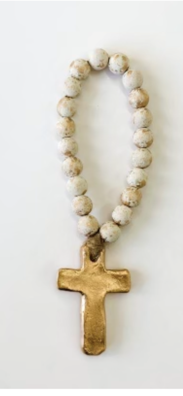 "SS Blessing Bead 7.5"" Cream Cross"