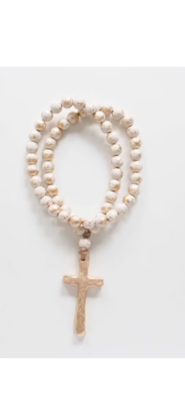 """SS Blessing Bead Rosary 23"""" Creamy White"""