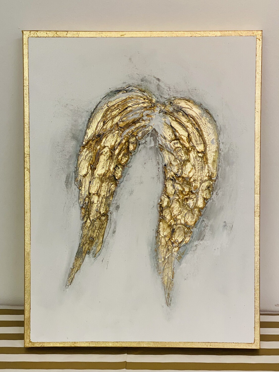 18x24 Angel Wings Painting Gold Trim