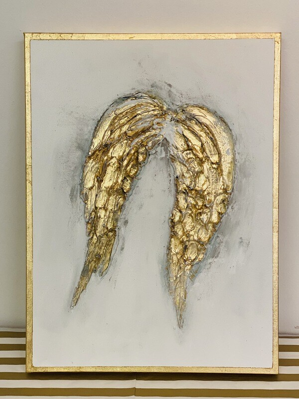 18x24 Angel Wing Painting Gold Trim