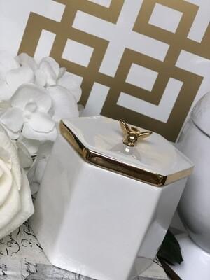 Designer White Bumblebee Jar Decor
