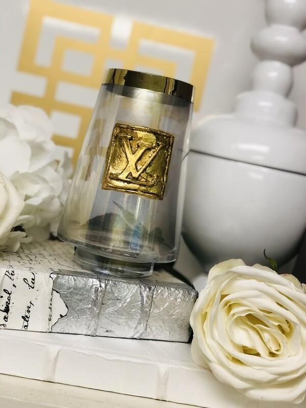 Designer Gold Stripe Vase LV