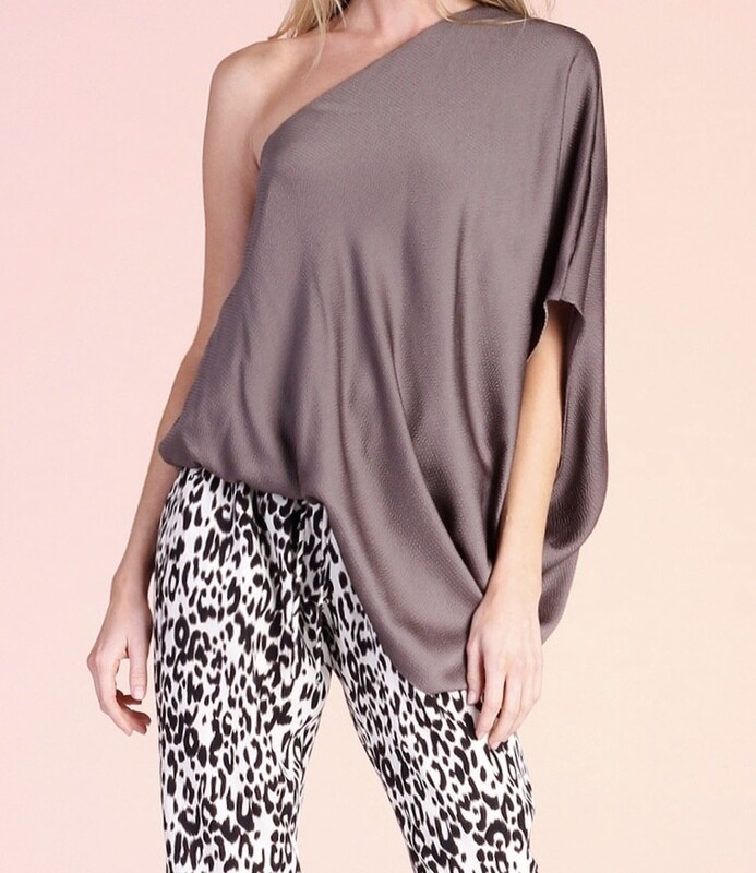 TY Hammered Satin One Shoulder Top