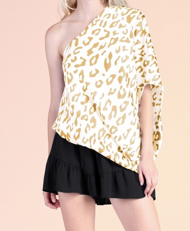 TY Leopard Slouch One Shoulder Top