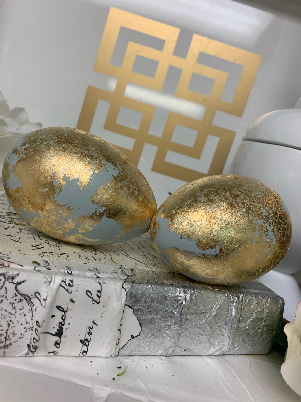 Gold Gild Eggs Blue
