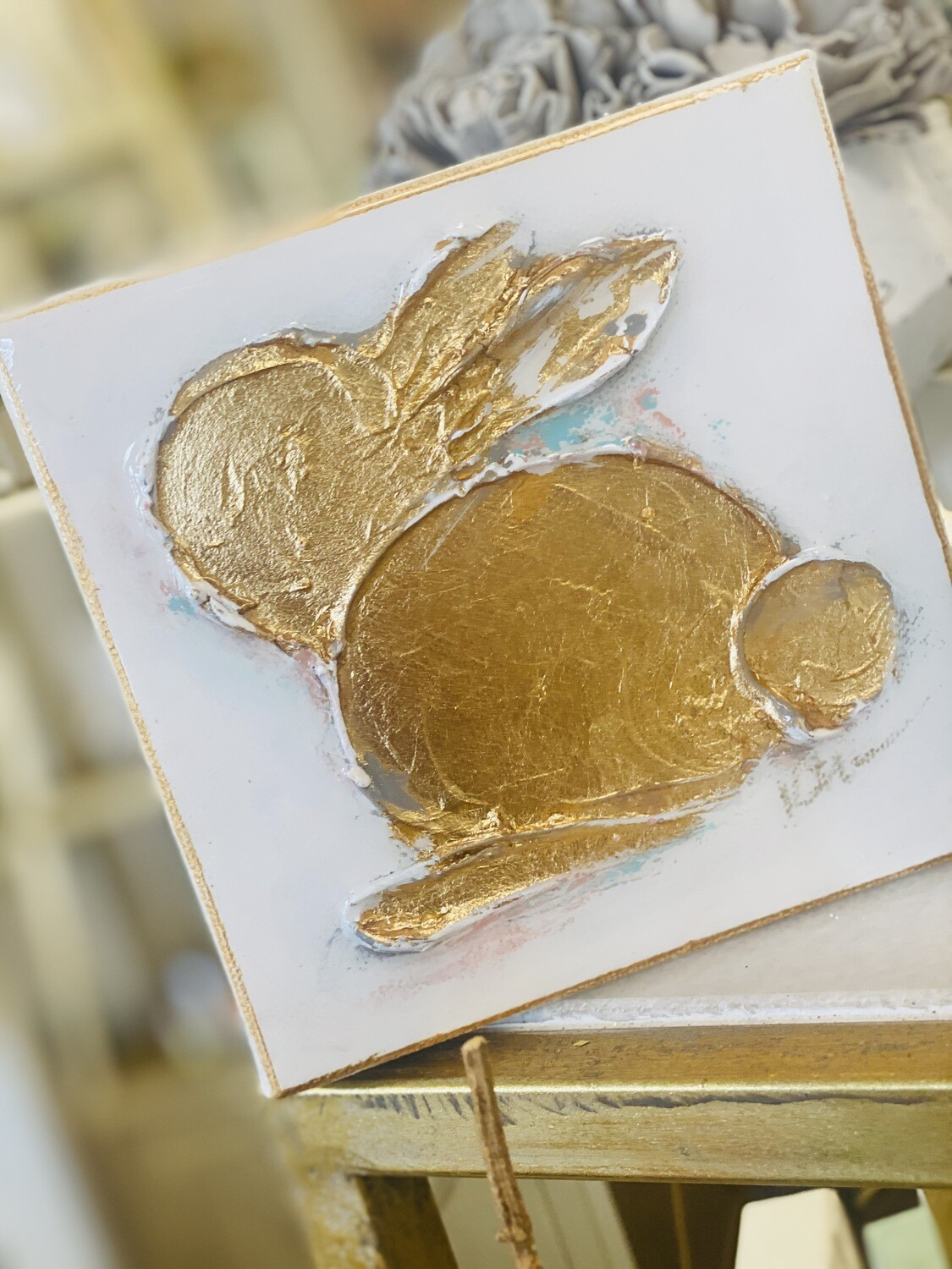 6x6 Bunny Painting Gold