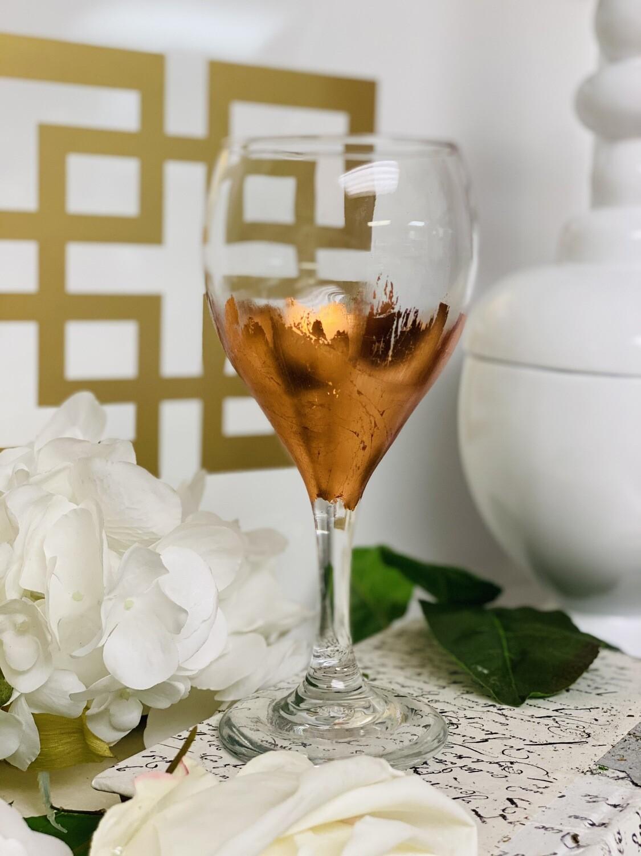 Rose Gold Gild Stemmed Wine Glass 2