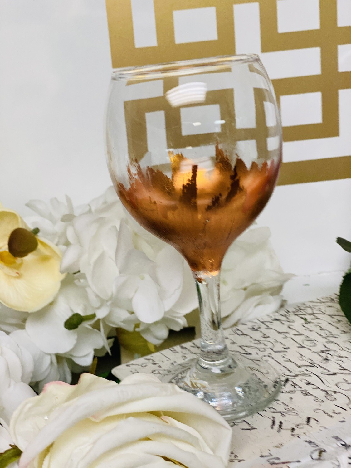 Rose Gold Gild Stemmed Wine Glass 1