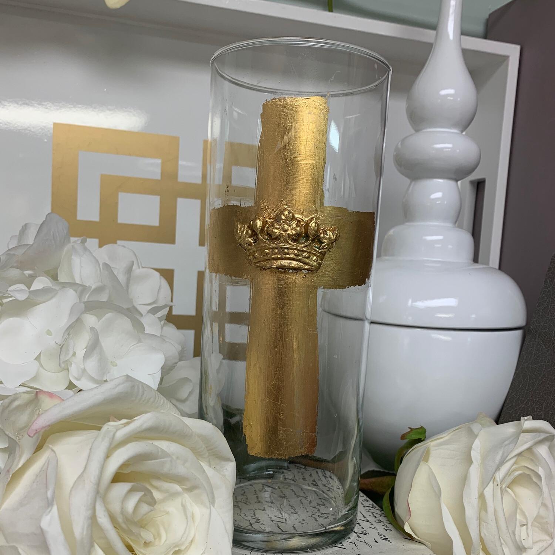 """Gold Cross Mask Vase 9"""""""