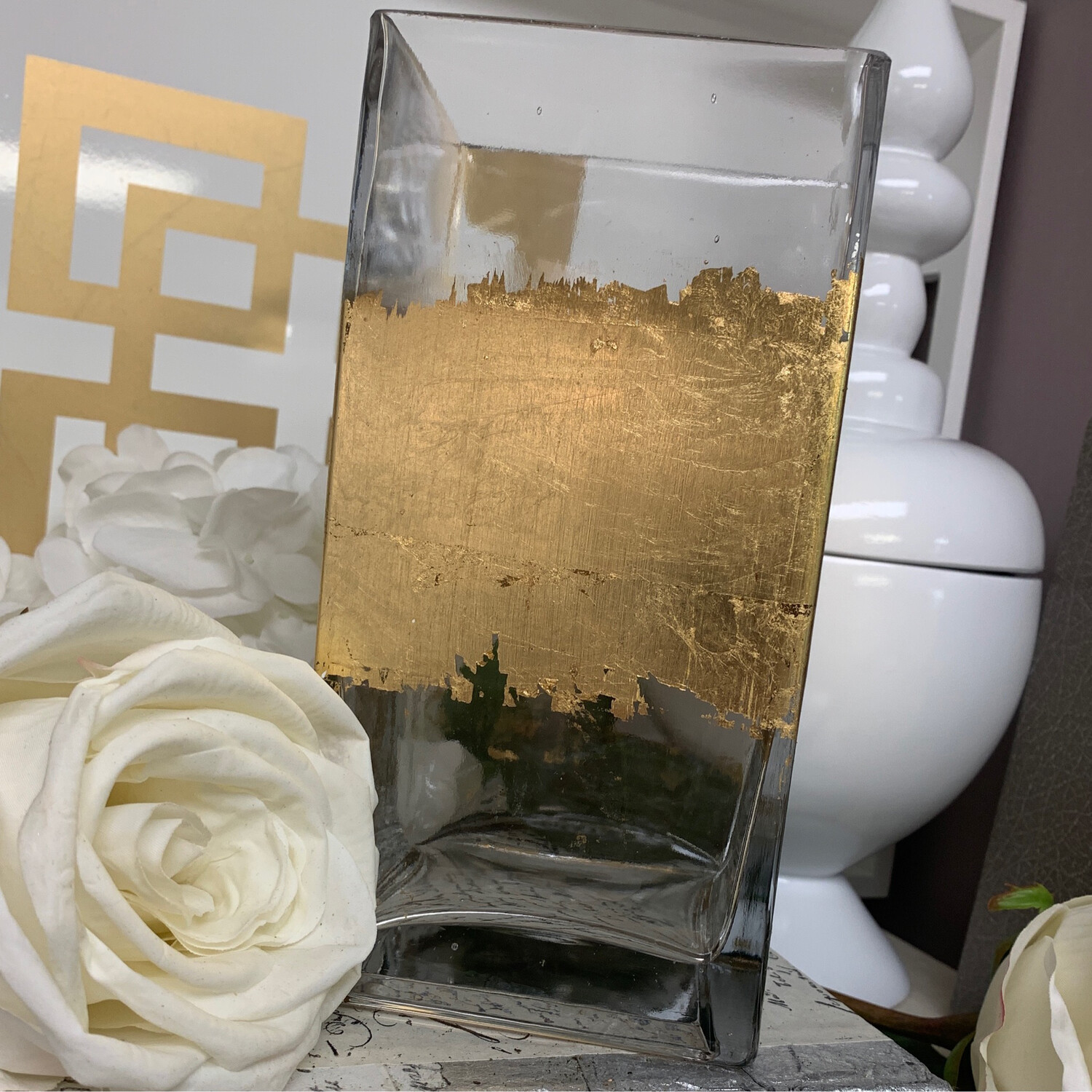 Gold Gild Square Vase