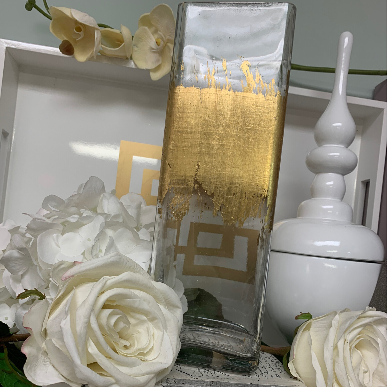 Gold Gild Tall Square Vase