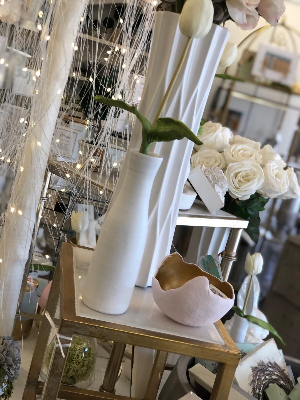 White Vase With Tulip Medium