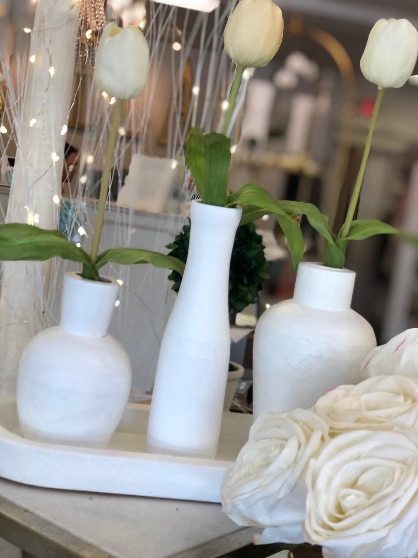 White Vase With Tulip Small