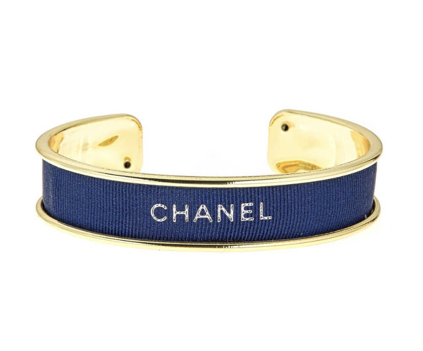 Designer Ribbon Cuff - Navy Chanel