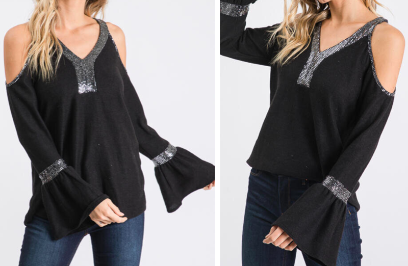 HC Cold Shoulder Sequin Top