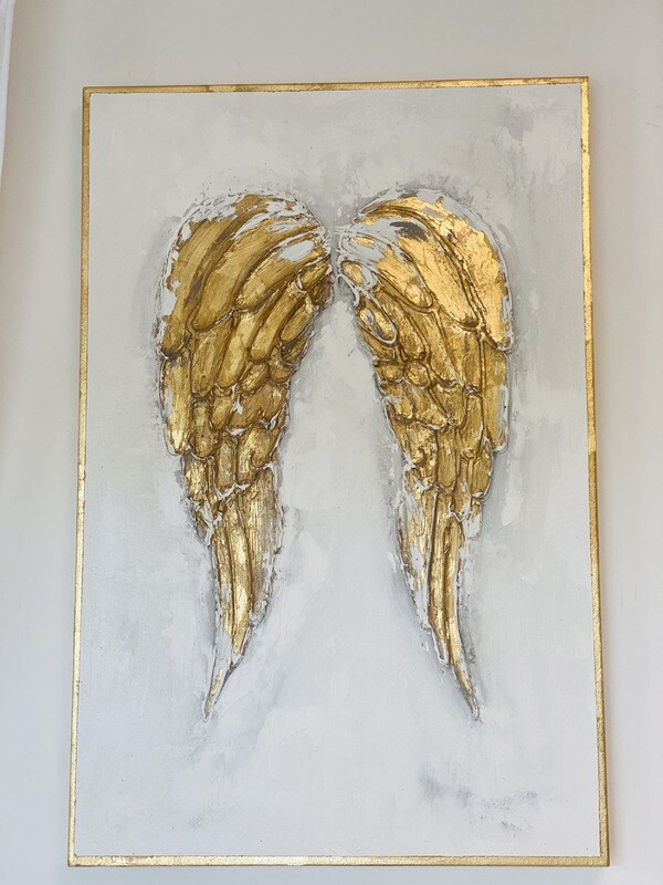 24x36 Thick Angel Wing Painting Gold Trim