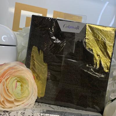 Napkins Dinner Brushstroke Black/Gold