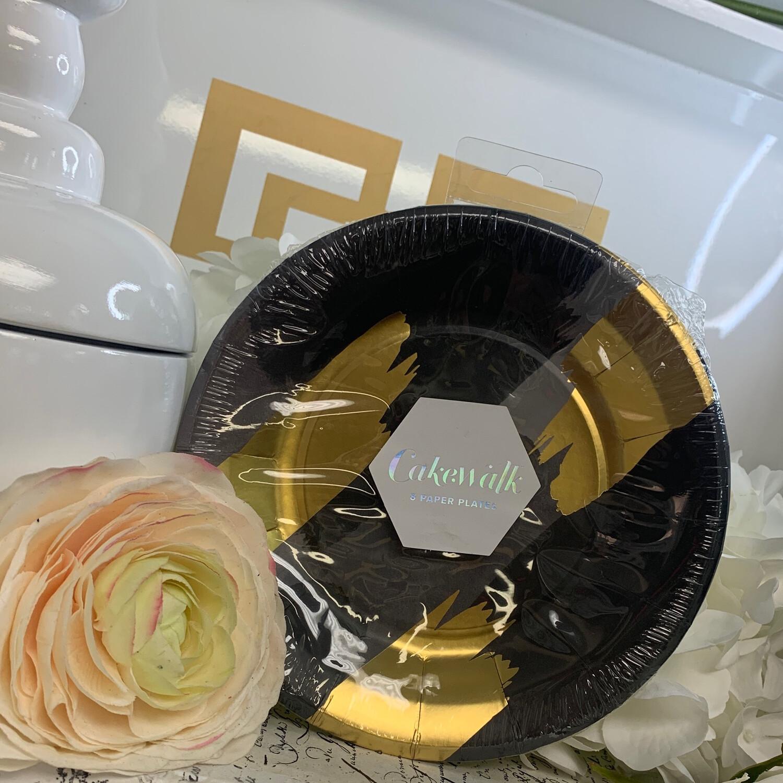 Plates Dessert Brushstroke Black/Gold