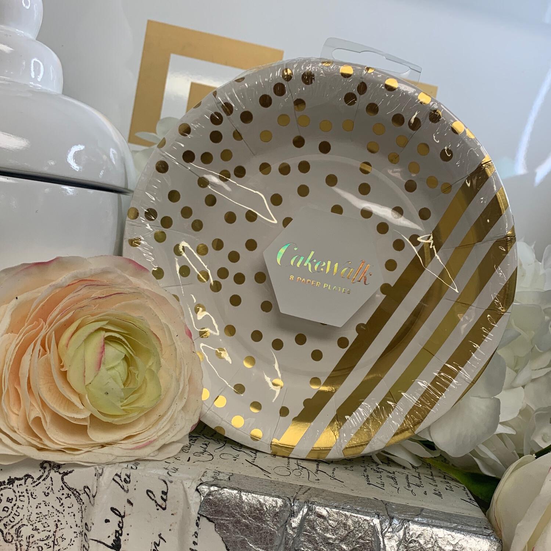 Plates Dessert Gold Dot