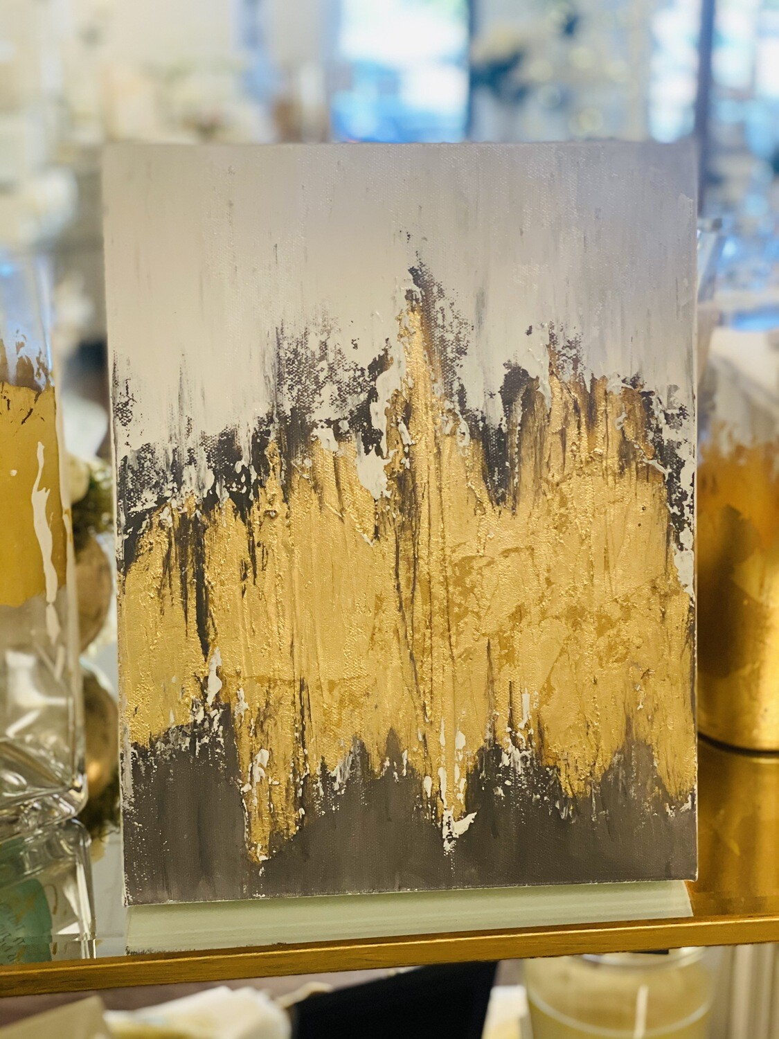 11x14 Gold/Grey Abstract Painting