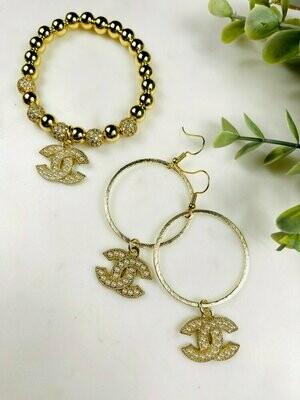 SJ Designer Earrings Pearl Hoop CC