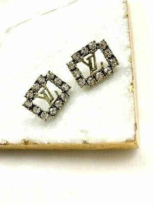 SJ Designer Earring Studs Diamond Square LV