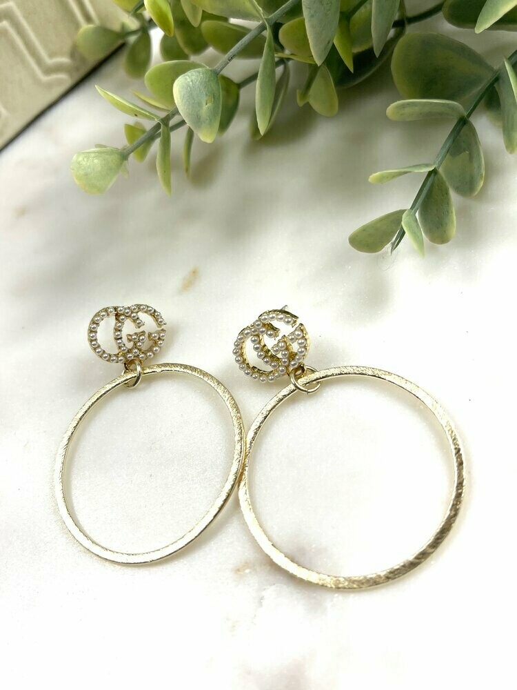 SJ Inspired Earrings Pearl Hoops GG